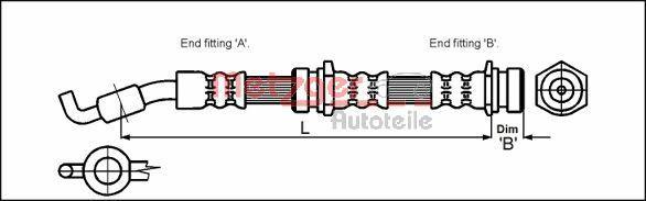 MAZDA DEMIO 1996 Rohre und Schläuche - Original METZGER 4114722 Länge: 470mm, Gewindemaß 2: F10 x 1