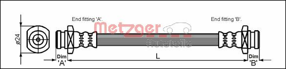 4114732 METZGER Länge: 279mm, Gewindemaß 1: F10 x 1 Bremsschlauch 4114732 günstig kaufen