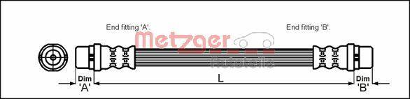 Bremsschlauch METZGER 4114777