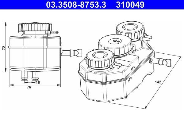 MERCEDES-BENZ PAGODE Ersatzteile: Ausgleichsbehälter, Bremsflüssigkeit 03.3508-8753.3 > Niedrige Preise - Jetzt kaufen!