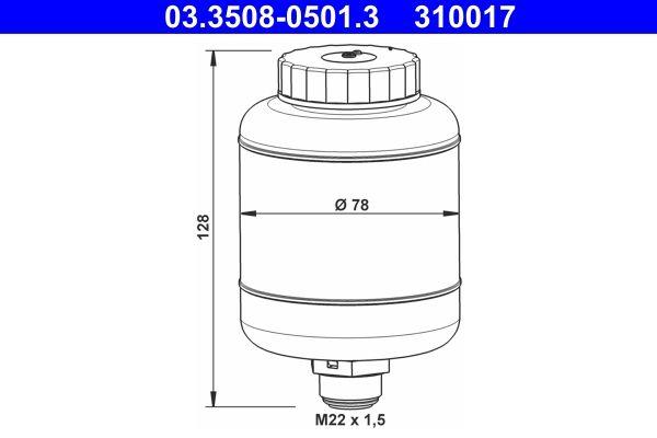 ATE Ausgleichsbehälter, Bremsflüssigkeit passend für MERCEDES-BENZ - Artikelnummer: 03.3508-0501.3