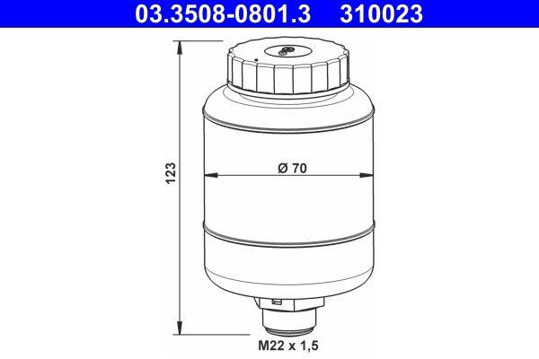 ATE Ausgleichsbehälter, Bremsflüssigkeit passend für MERCEDES-BENZ - Artikelnummer: 03.3508-0801.3