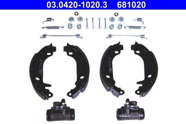 681020 ATE Original Kit mit Radbremszylinder, mit Zubehör Breite: 42mm Bremsbackensatz 03.0420-1020.3 günstig kaufen