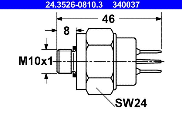 Brake stop light switch 24.3526-0810.3 ATE — only new parts
