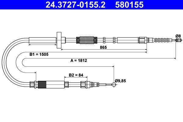 AUDI A4 2010 Handbremse - Original ATE 24.3727-0155.2 Länge: 1812mm
