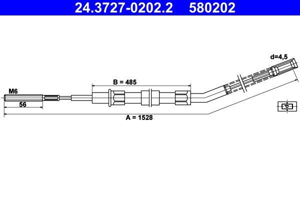 ATE: Original Handbremsseil 24.3727-0202.2 (Länge: 1528mm)