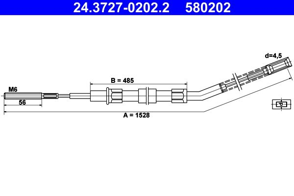 Parking brake cable 24.3727-0202.2 ATE — only new parts