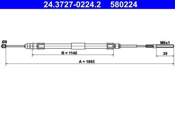 24.3727-0224.2 Cable, parking brake ATE original quality