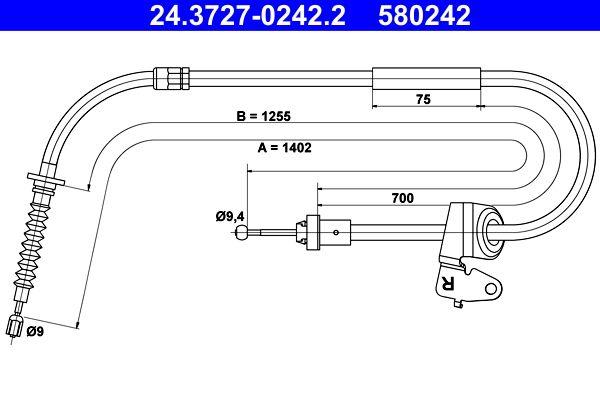 ATE: Original Handbremse 24.3727-0242.2 (Länge: 1402mm)
