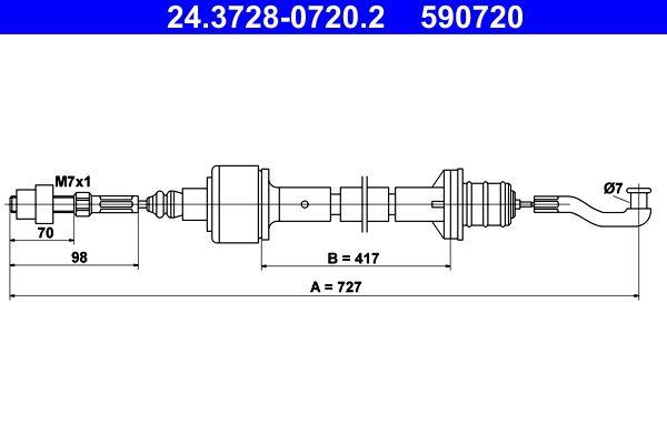 590720 ATE Länge: 727mm Seilzug, Kupplungsbetätigung 24.3728-0720.2 günstig kaufen