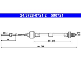 Comprar y reemplazar Cable de accionamiento, accionamiento del embrague ATE 24.3728-0721.2