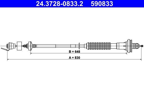 ATE Seilzug, Kupplungsbetätigung 24.3728-0833.2