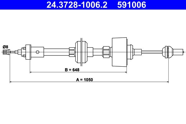 RENAULT RAPID 1996 Kupplungsseil - Original ATE 24.3728-1006.2