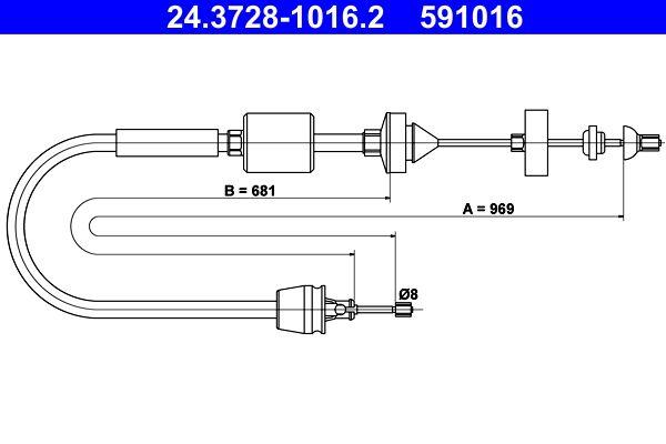 591016 ATE Länge: 969mm Seilzug, Kupplungsbetätigung 24.3728-1016.2 günstig kaufen