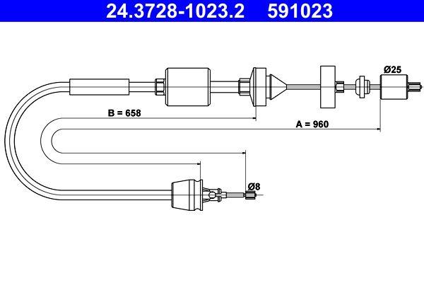 591023 ATE Länge: 960mm Seilzug, Kupplungsbetätigung 24.3728-1023.2 günstig kaufen