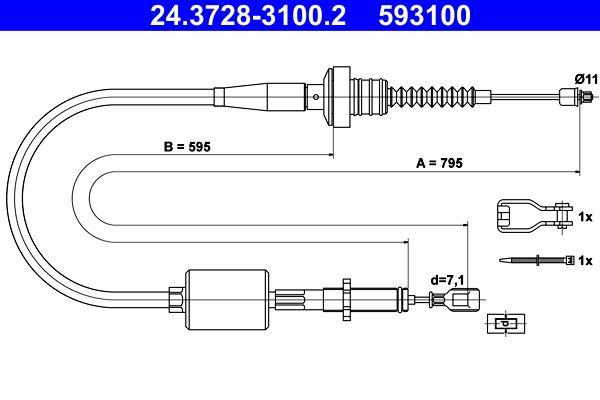 593100 ATE Länge: 795mm Seilzug, Kupplungsbetätigung 24.3728-3100.2 günstig kaufen