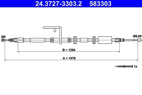 ATE: Original Seilzug Feststellbremse 24.3727-3303.2 (Länge: 1578mm)