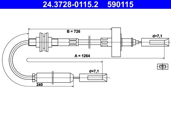 ATE: Original Kupplungsseilzug 24.3728-0115.2 ()