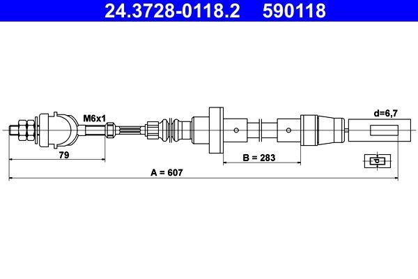 Kupplungsseil ATE 24.3728-0118.2