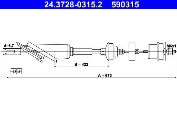 Original BMW Kupplungsseilzug 24.3728-0315.2