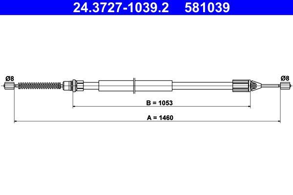 RENAULT TWINGO 2016 Handbremse - Original ATE 24.3727-1039.2 Länge: 1460mm