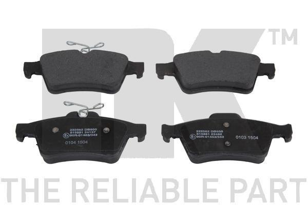 Bremsbelagsatz Ford Focus mk2 Limousine hinten + vorne 2020 - NK 222562 (Höhe 1: 52mm, Breite 1: 123,1mm, Dicke/Stärke 1: 16,6mm)