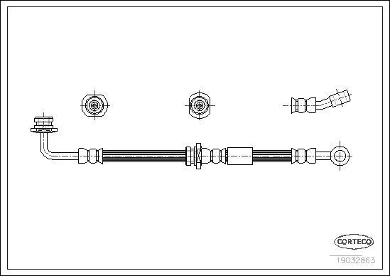 19032863 CORTECO Vorderachse links Länge: 530mm Bremsschlauch 19032863 günstig kaufen