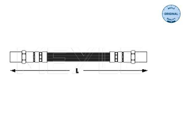VW DERBY 1981 Bremsschläuche - Original MEYLE 100 611 0012 Länge: 202mm, Innengewinde 1: M10x1mm, Innengewinde 2: M10x1mm