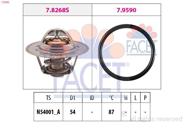 KW580268 FACET Öffnungstemperatur: 87°C, separates Gehäuse, Made in Italy - OE Equivalent D1: 54mm Thermostat, Kühlmittel 7.8268 günstig kaufen