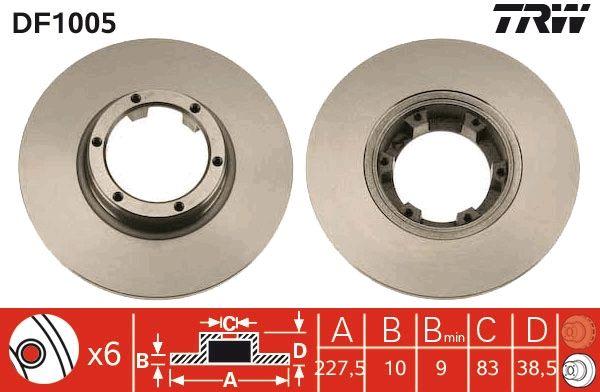 Achetez Tuning TRW DF1005 (Ø: 228mm, Nbre de trous: 6, Épaisseur du disque de frein: 10mm) à un rapport qualité-prix exceptionnel