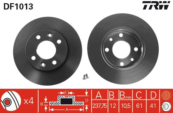 DF1013 Scheibenbremsen TRW - Markenprodukte billig