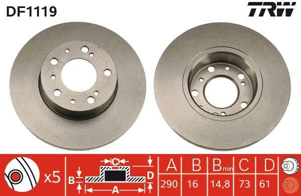 TRW: Original Bremsscheibe DF1119 (Ø: 290mm, Lochanzahl: 5, Bremsscheibendicke: 16mm)