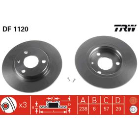 DF1120 TRW Voll, lackiert, mit Schrauben Ø: 237mm, Lochanzahl: 3, Bremsscheibendicke: 8mm Bremsscheibe DF1120 günstig kaufen