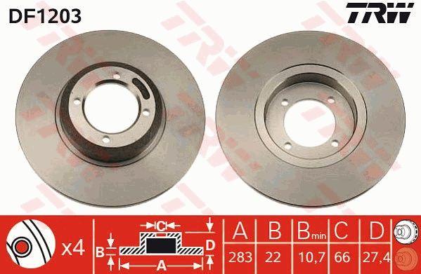 TRW: Original Bremsscheibe DF1203 (Ø: 273mm, Lochanzahl: 4, Bremsscheibendicke: 12,7mm)