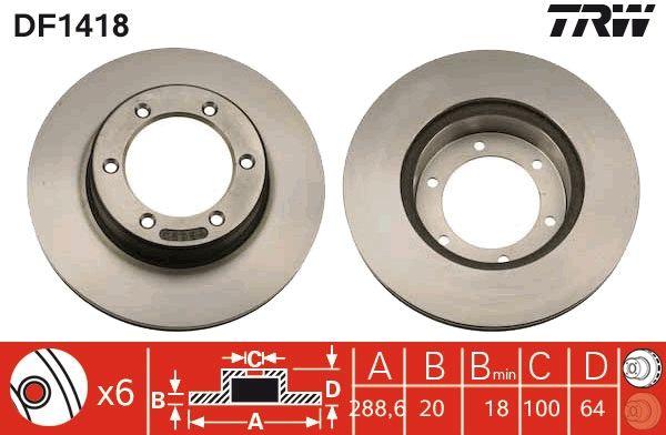 Achetez Disque TRW DF1418 (Ø: 288mm, Nbre de trous: 6, Épaisseur du disque de frein: 20mm) à un rapport qualité-prix exceptionnel