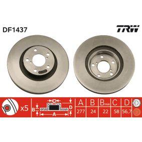 DF1437 TRW belüftet, lackiert Ø: 277mm, Lochanzahl: 5, Bremsscheibendicke: 24mm Bremsscheibe DF1437 günstig kaufen