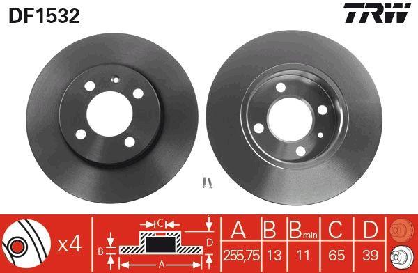 TRW: Original Scheibenbremsen DF1532 (Ø: 256mm, Lochanzahl: 4, Bremsscheibendicke: 13mm)