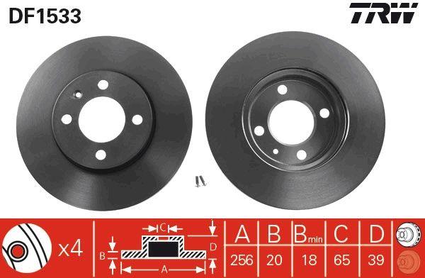 Achetez Tuning TRW DF1533 (Ø: 256mm, Nbre de trous: 4, Épaisseur du disque de frein: 20mm) à un rapport qualité-prix exceptionnel