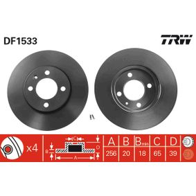 DF1533 TRW belüftet, lackiert Ø: 256mm, Lochanzahl: 4, Bremsscheibendicke: 20mm Bremsscheibe DF1533 günstig kaufen