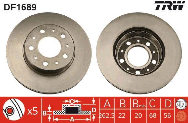 VOLVO 760 1987 Bremsscheiben - Original TRW DF1689 Ø: 263mm, Lochanzahl: 5, Bremsscheibendicke: 22mm