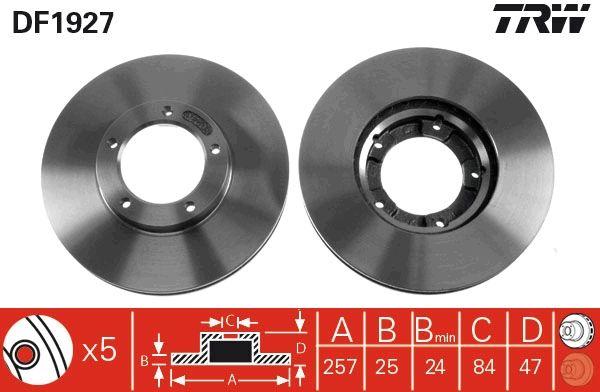 Achetez Disque TRW DF1927 (Ø: 257mm, Nbre de trous: 5, Épaisseur du disque de frein: 25mm) à un rapport qualité-prix exceptionnel