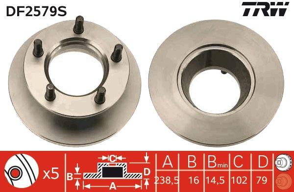 TRW: Original Scheibenbremsen DF2579S (Ø: 238,5mm, Lochanzahl: 5, Bremsscheibendicke: 16mm)