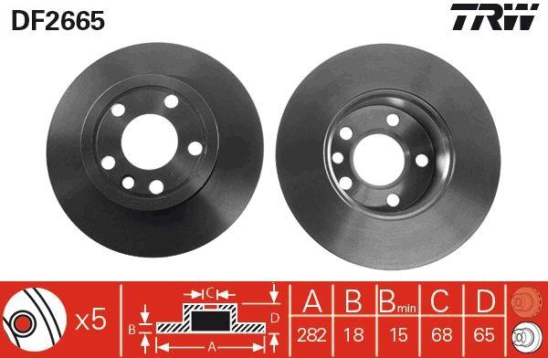 Achetez Disques de frein TRW DF2665 (Ø: 282mm, Nbre de trous: 5, Épaisseur du disque de frein: 18mm) à un rapport qualité-prix exceptionnel