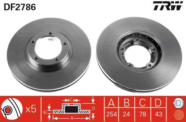 Купете DF2786 TRW вентилиран, боядисан Ø: 254мм, брой на дупките: 5, дебелина на спирачния диск: 24,3мм Спирачен диск DF2786 евтино