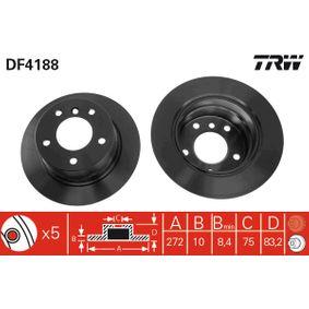 DF4188 TRW Voll, lackiert Ø: 272mm, Lochanzahl: 5, Bremsscheibendicke: 10mm Bremsscheibe DF4188 günstig kaufen