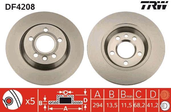 Achetez Disques de frein TRW DF4208 (Ø: 294mm, Nbre de trous: 5, Épaisseur du disque de frein: 13,5mm) à un rapport qualité-prix exceptionnel