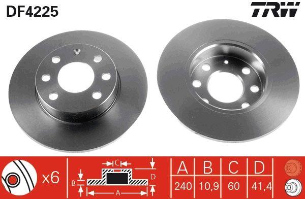 DF4225 TRW Voll, lackiert Ø: 240mm, Lochanzahl: 6, Bremsscheibendicke: 10,9mm Bremsscheibe DF4225 günstig kaufen