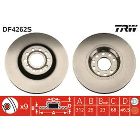 DF4262S TRW belüftet, lackiert Ø: 312mm, Lochanzahl: 9, Bremsscheibendicke: 25mm Bremsscheibe DF4262S günstig kaufen