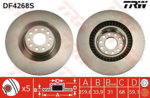 Achetez Disques de frein TRW DF4268S (Ø: 360mm, Nbre de trous: 5, Épaisseur du disque de frein: 34mm) à un rapport qualité-prix exceptionnel