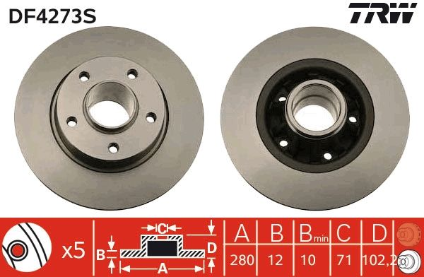 TRW Спирачен диск DF4273S